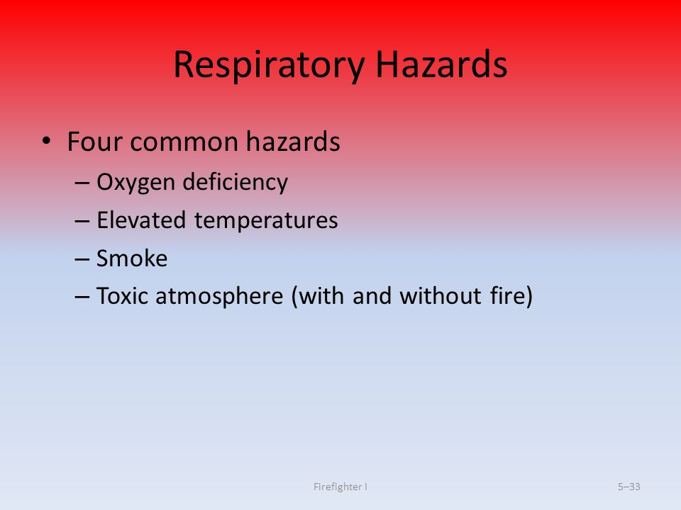 Respiratory Hazards Four common hazards Oxygen deficiency