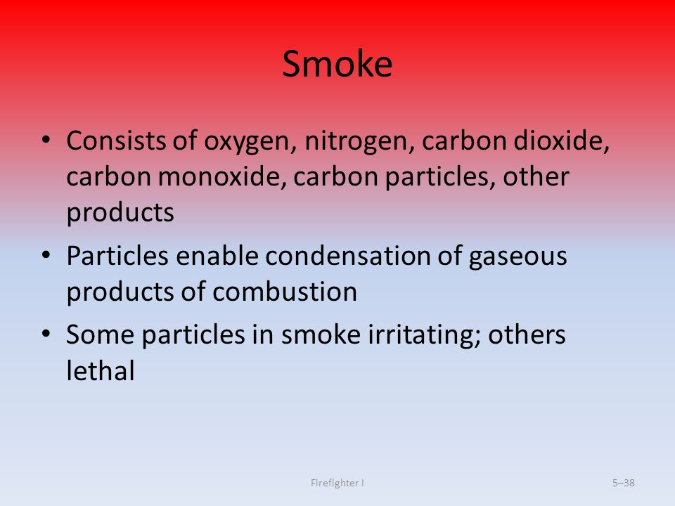 Smoke Consists of oxygen, nitrogen, carbon dioxide, carbon monoxide, carbon particles, other products.