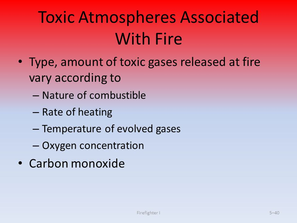 Toxic Atmospheres Associated With Fire