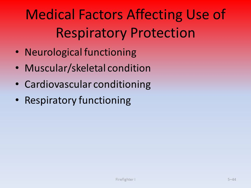 Medical Factors Affecting Use of Respiratory Protection