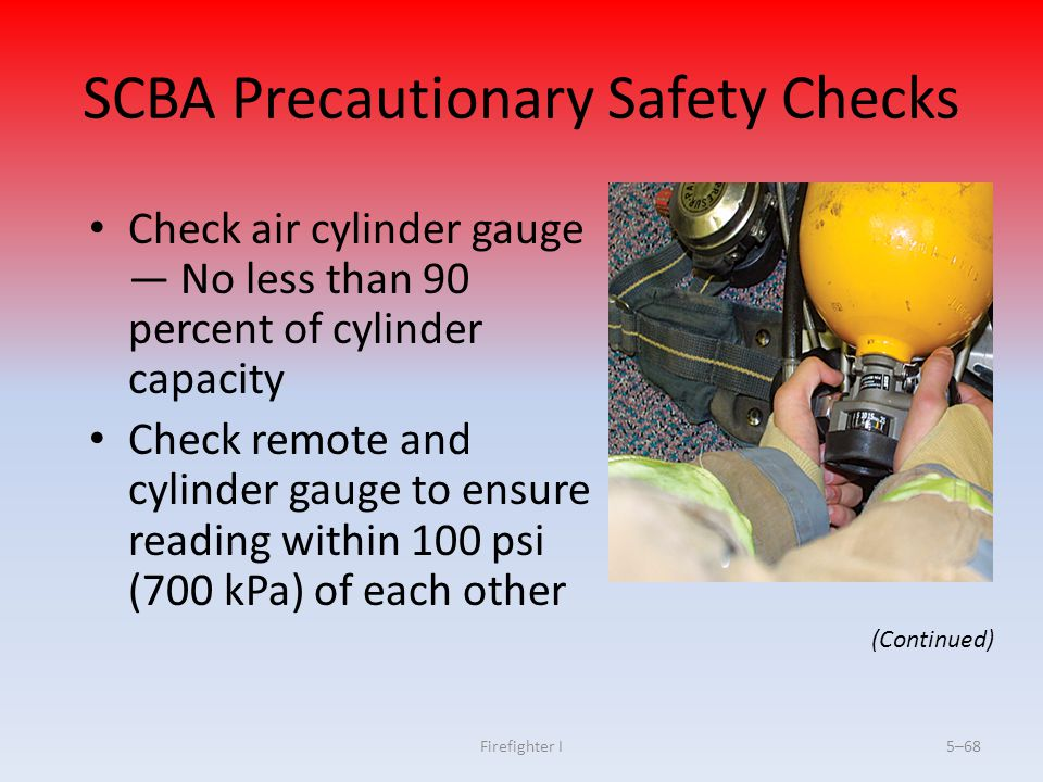 SCBA Precautionary Safety Checks