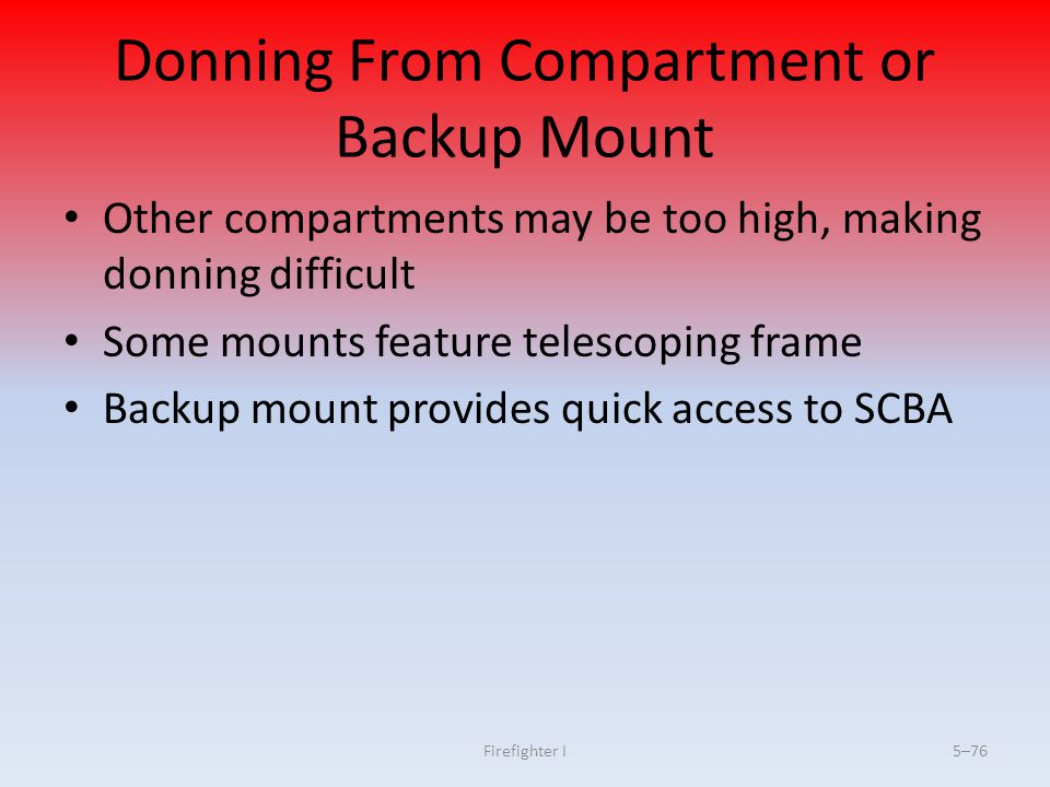 Donning From Compartment or Backup Mount