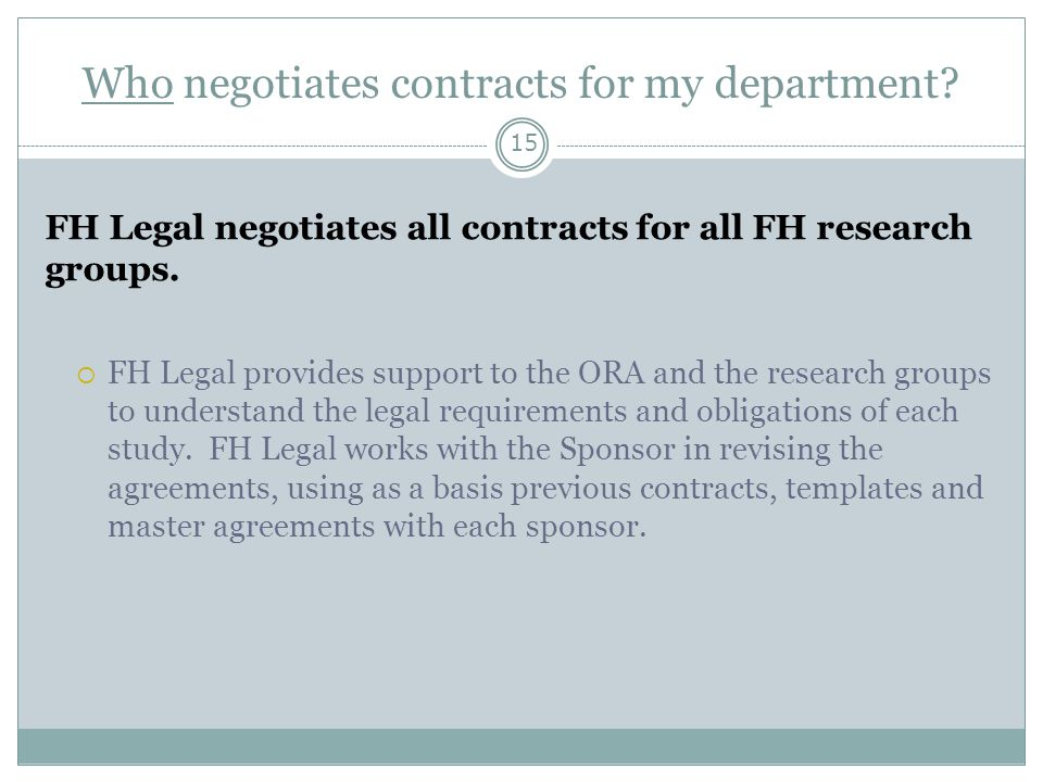 Who negotiates contracts for my department