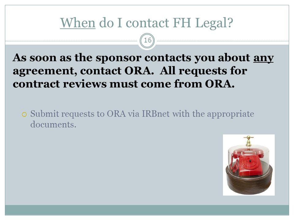 When do I contact FH Legal