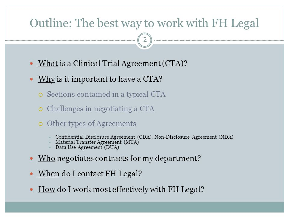 Outline: The best way to work with FH Legal