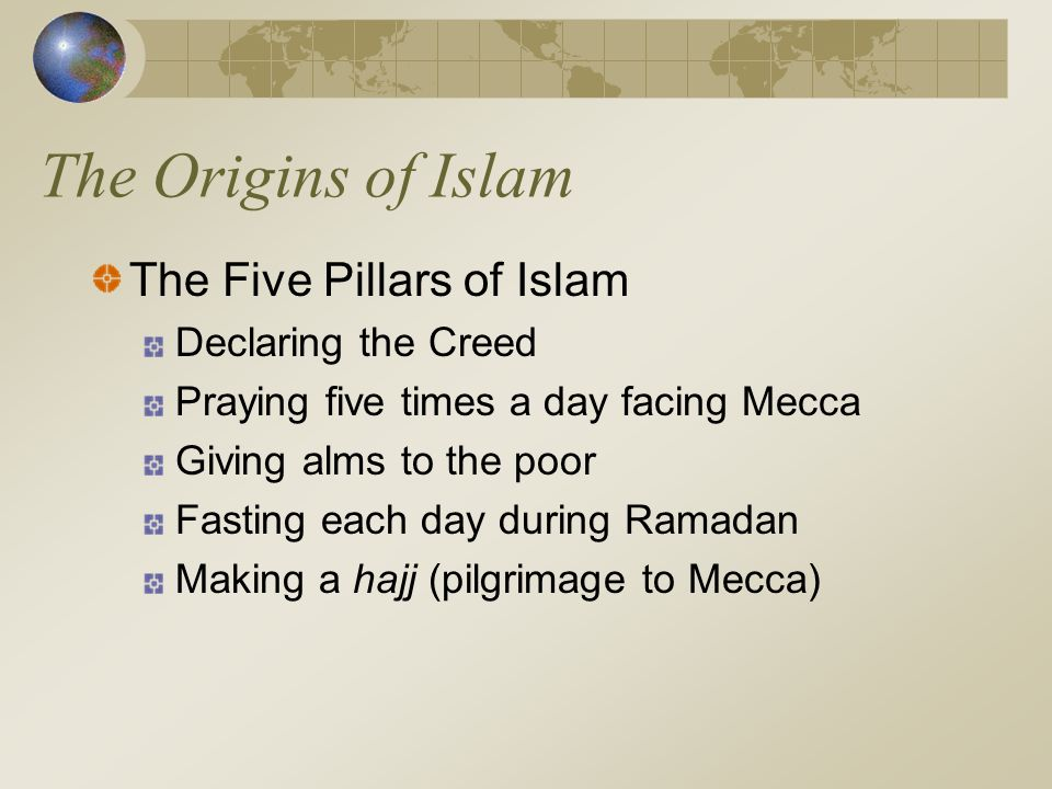 The Origins of Islam The Five Pillars of Islam Declaring the Creed