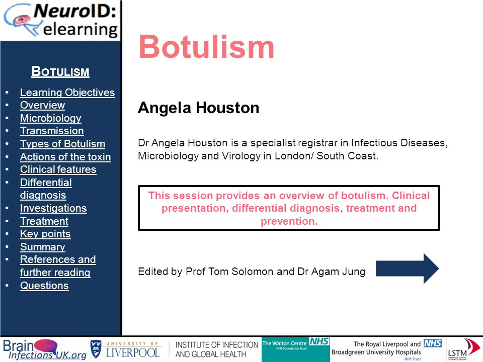 Botulism Angela Houston Botulism Learning Objectives Overview