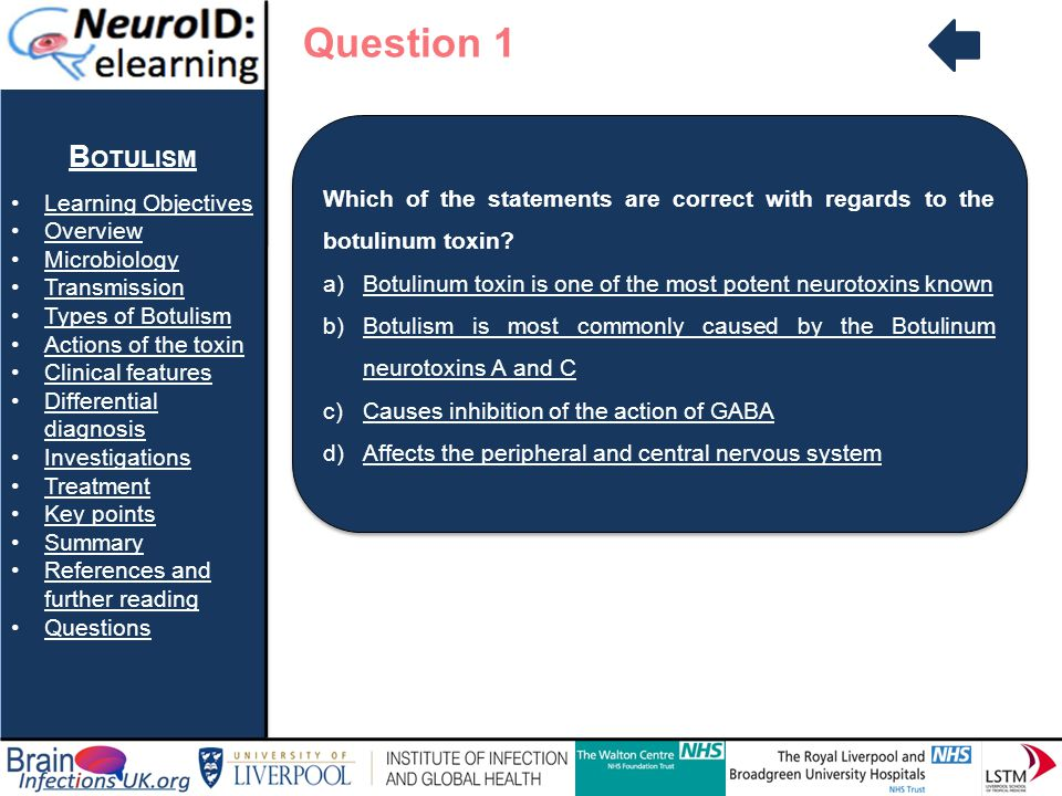 Question 1 Botulism Learning Objectives Overview