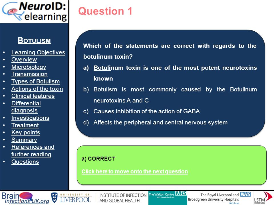 Question 1 Botulism Learning Objectives