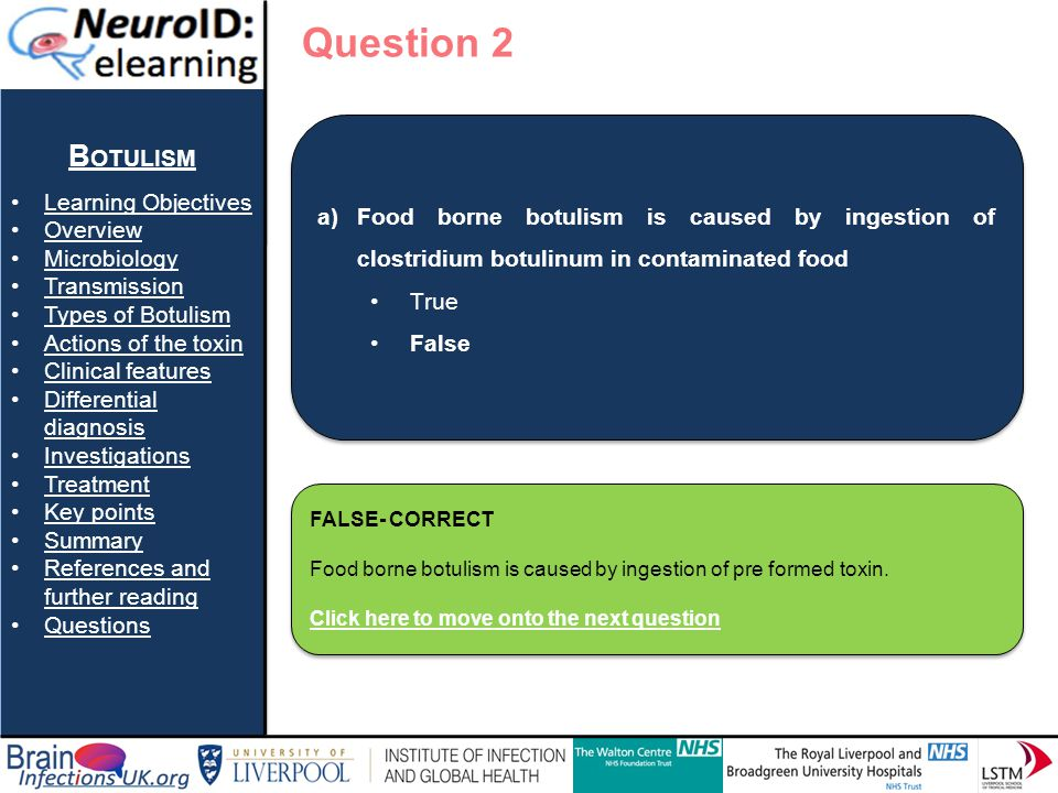 Question 2 Botulism Learning Objectives Overview Microbiology