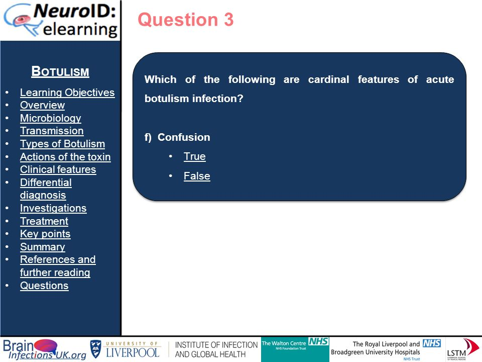 Question 3 Botulism Learning Objectives