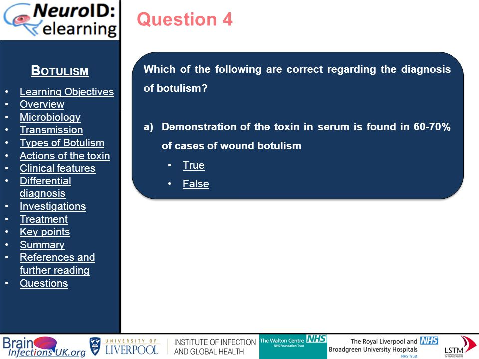 Question 4 Botulism Learning Objectives