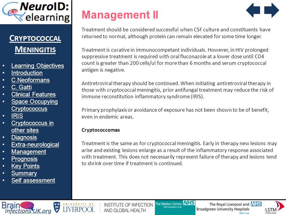Management II Cryptococcal Meningitis Learning Objectives Introduction