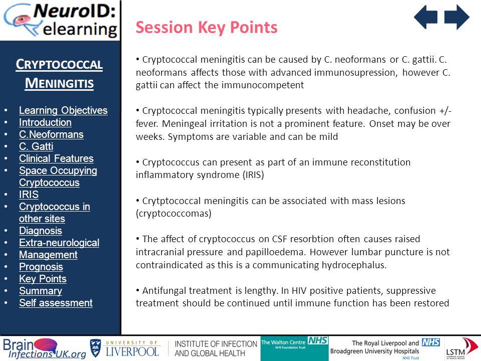 Session Key Points Cryptococcal Meningitis