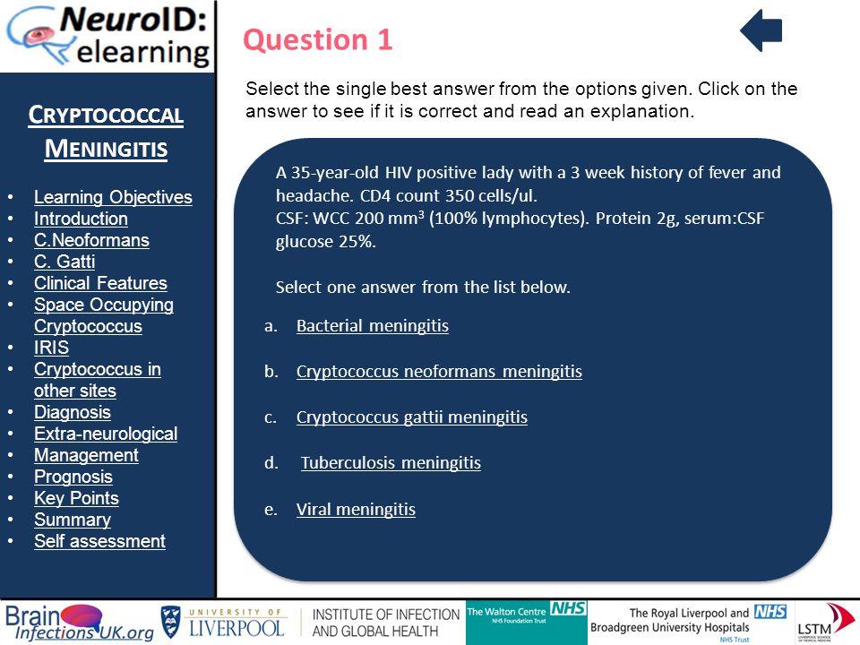 Question 1 Cryptococcal Meningitis