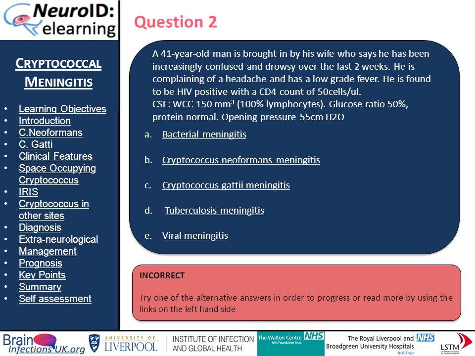 Question 2 Cryptococcal Meningitis