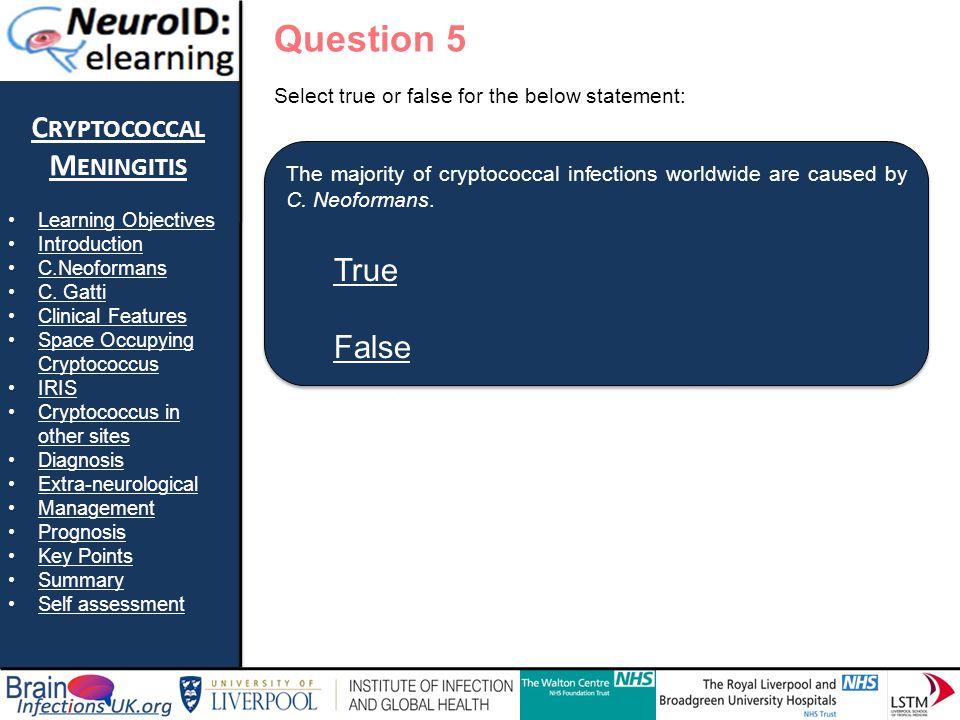True False Question 5 Cryptococcal Meningitis True False