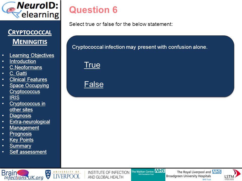 True False Question 6 Cryptococcal Meningitis True False