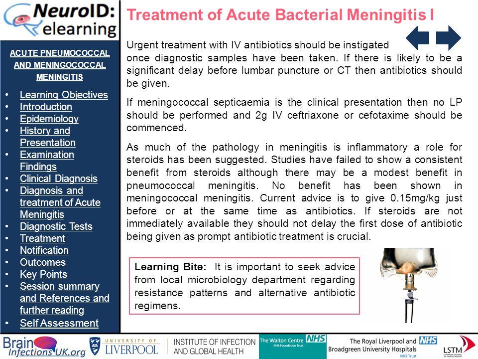 acute pneumococcal and meningococcal meningitis