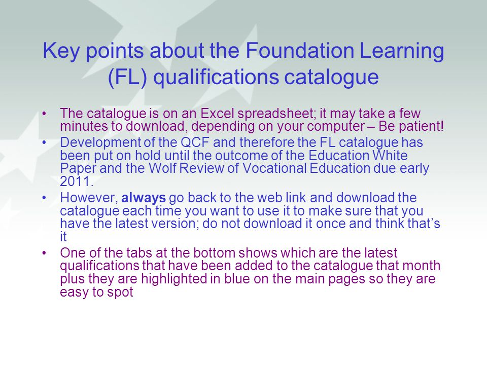 Key points about the Foundation Learning (FL) qualifications catalogue