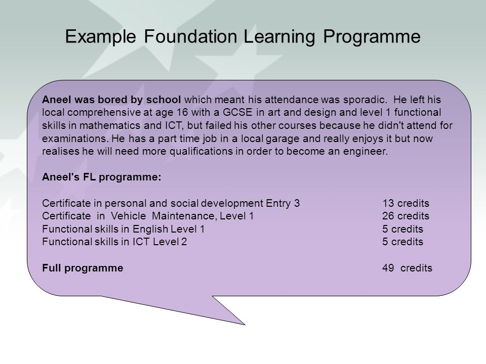 Example Foundation Learning Programme