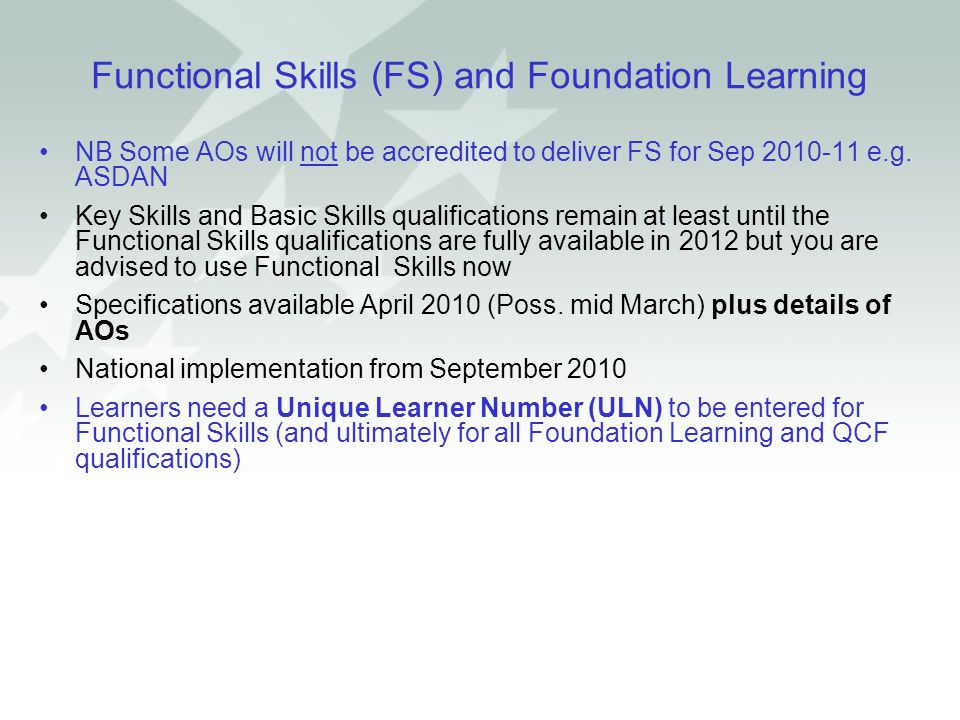 Functional Skills (FS) and Foundation Learning