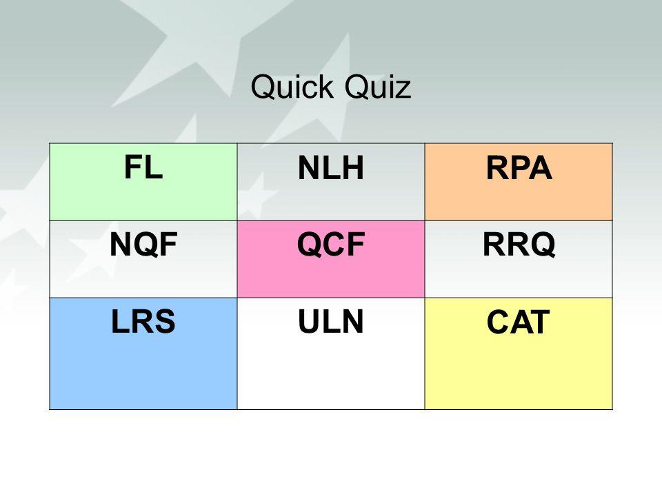 Quick Quiz FL NLH RPA NQF QCF RRQ LRS ULN CAT