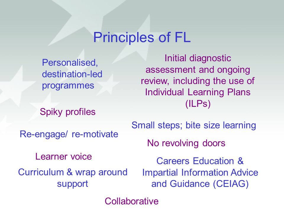 Principles of FL Initial diagnostic assessment and ongoing review, including the use of Individual Learning Plans (ILPs)
