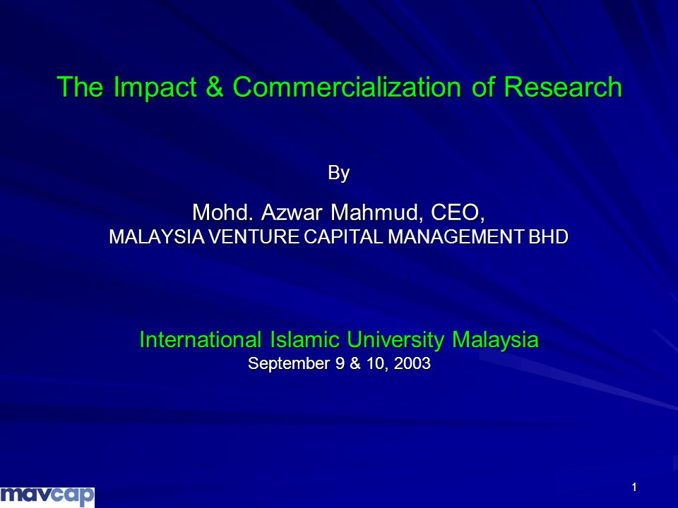 International Islamic University Malaysia September 9 & 10, 2003