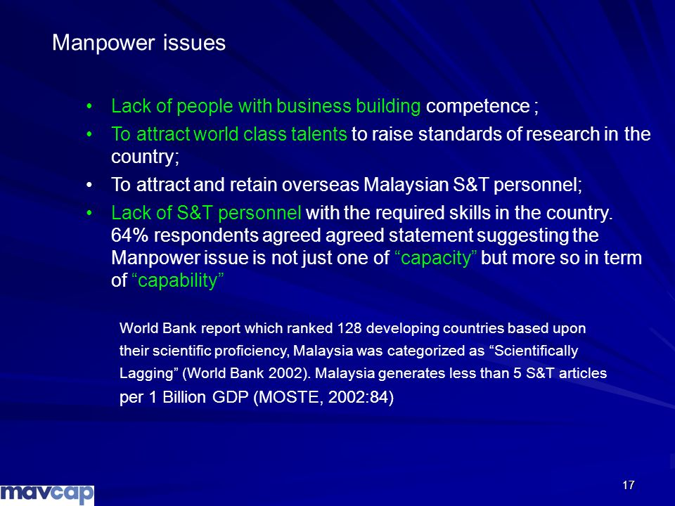 Manpower issues Lack of people with business building competence ;