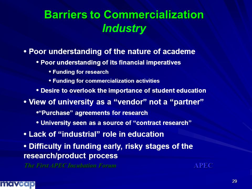 Barriers to Commercialization Industry