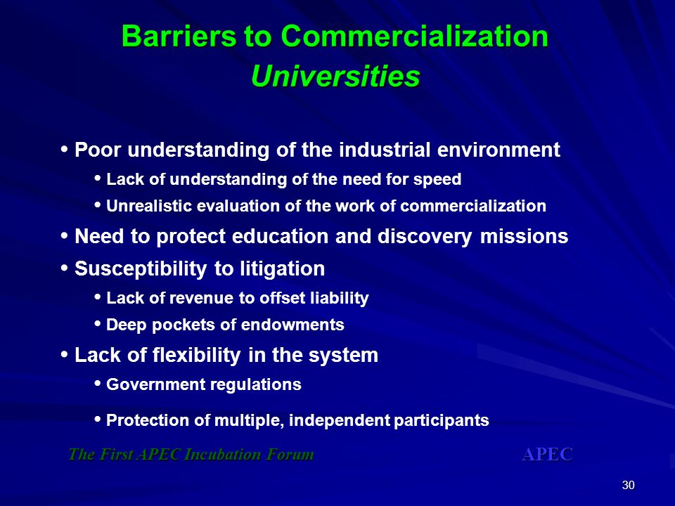 Barriers to Commercialization Universities
