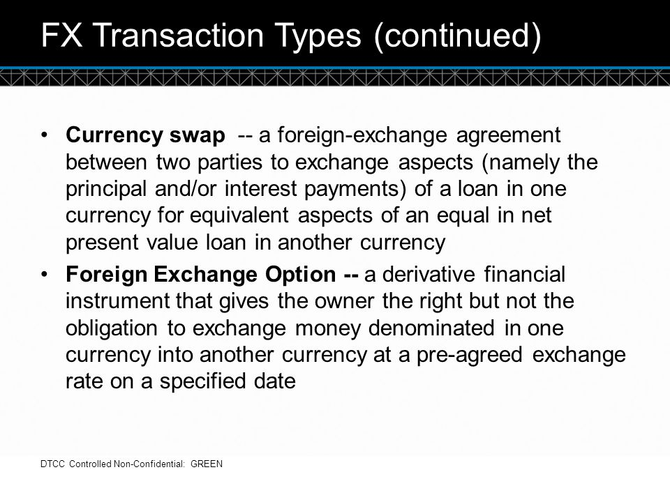 FX Transaction Types (continued)