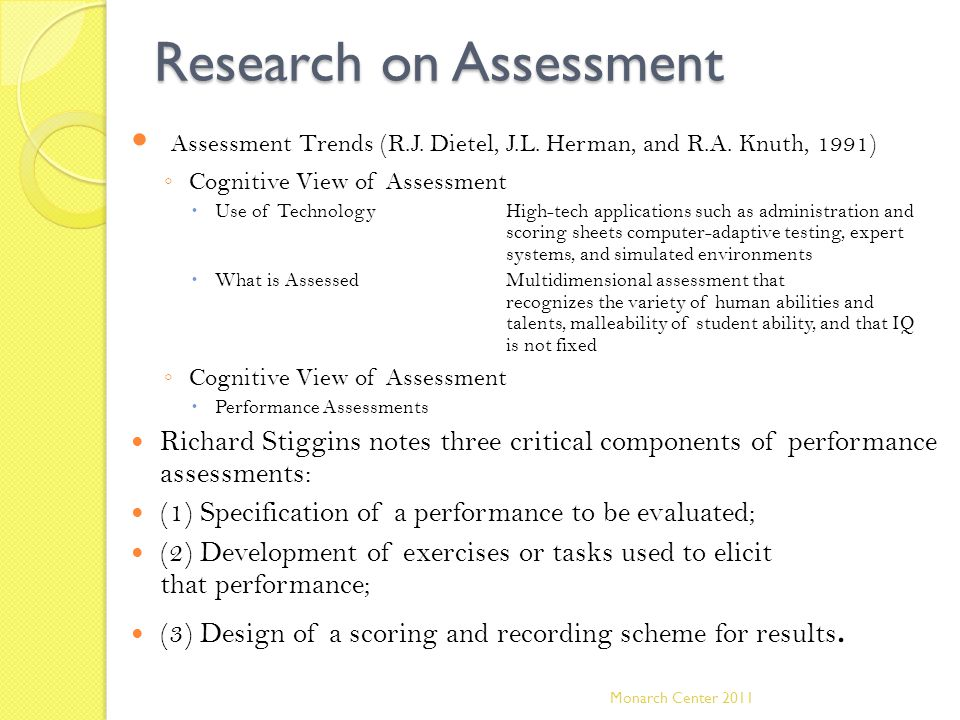 Research on Assessment