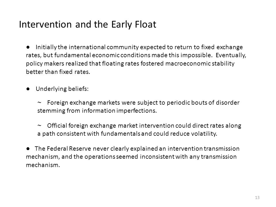 Intervention and the Early Float