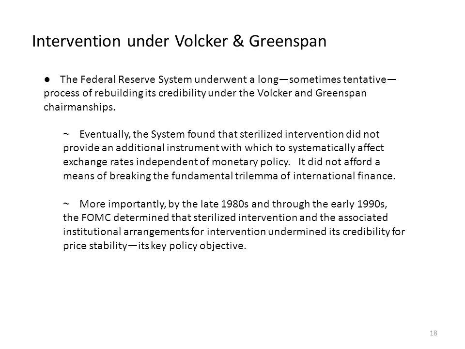 Intervention under Volcker & Greenspan