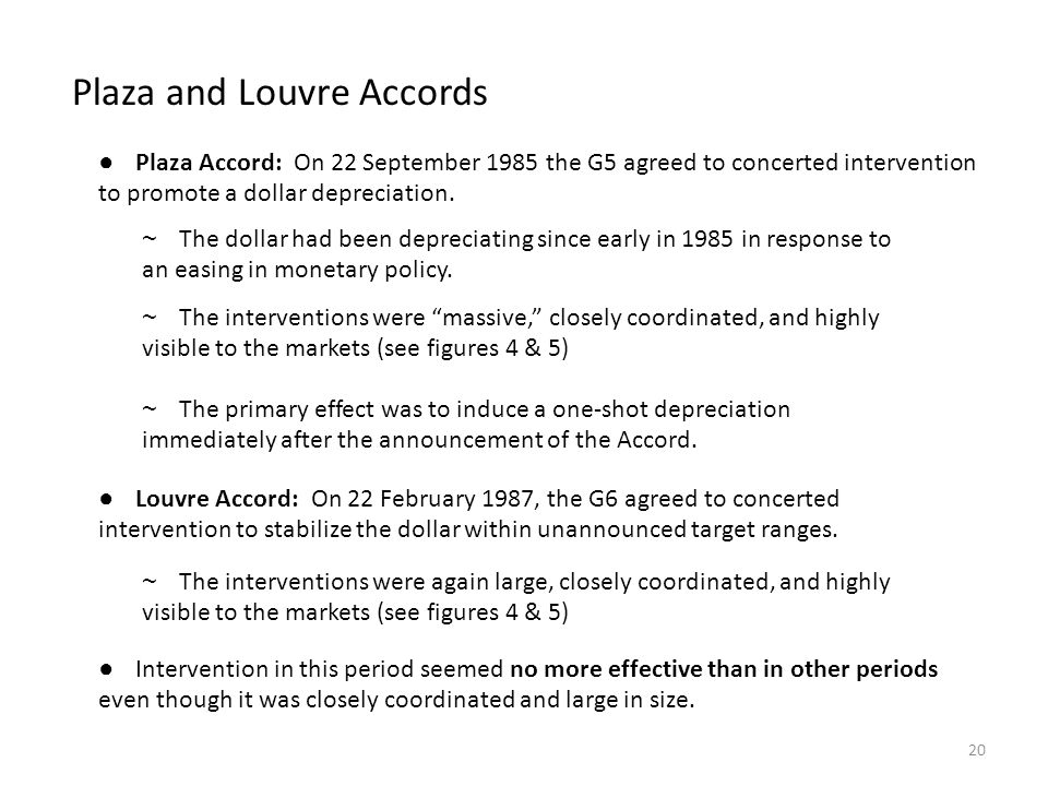 Plaza and Louvre Accords