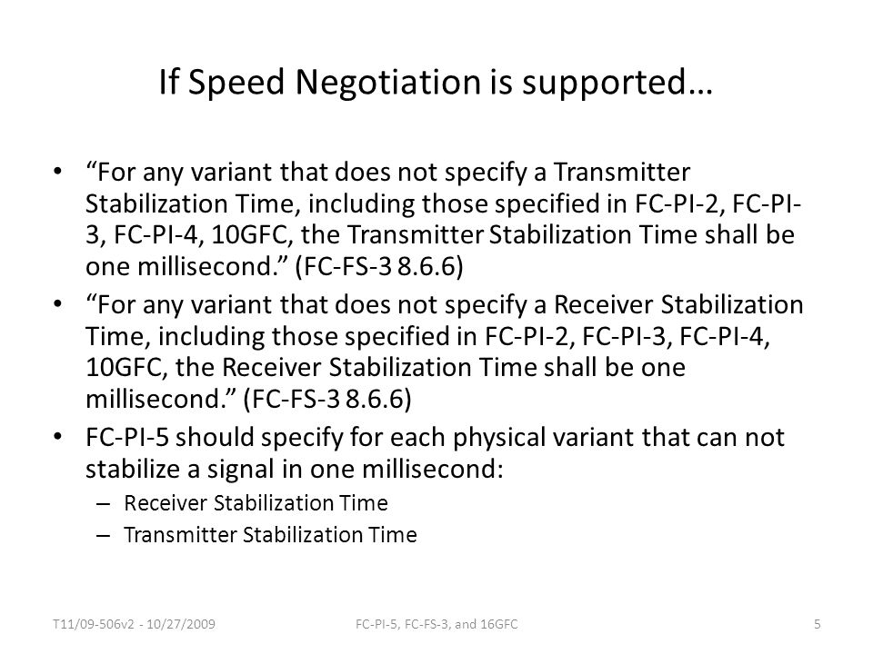 If Speed Negotiation is supported…