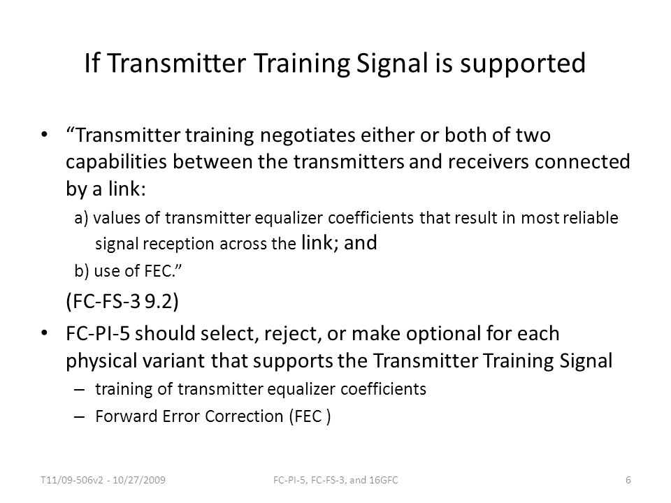 If Transmitter Training Signal is supported