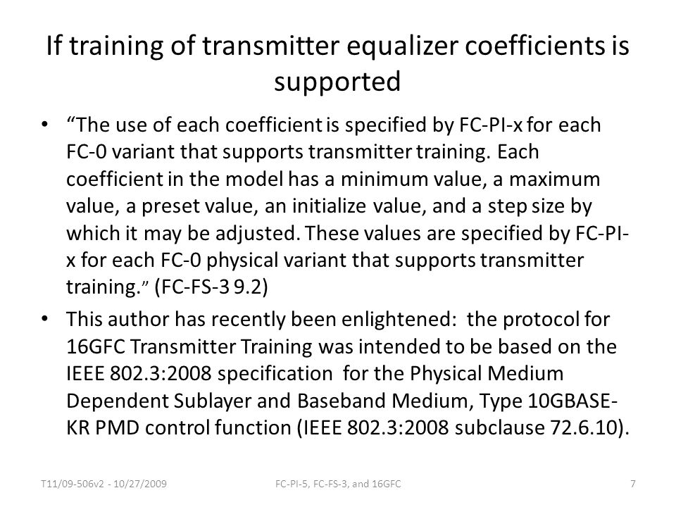 If training of transmitter equalizer coefficients is supported
