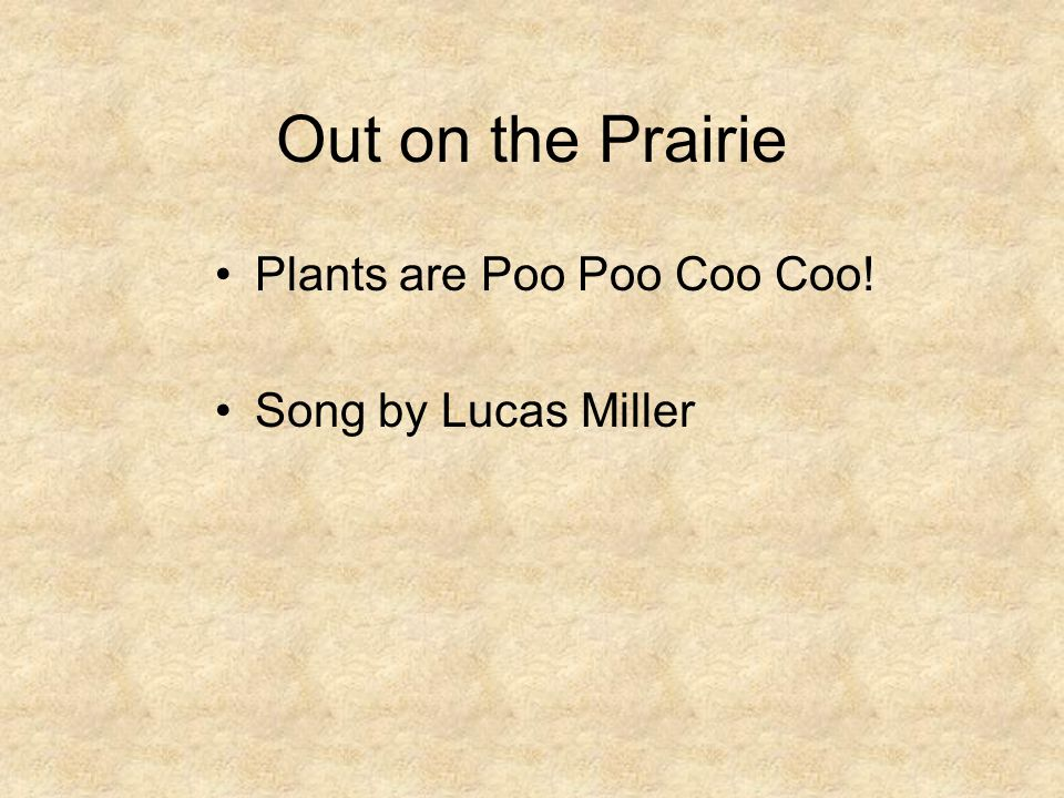 Out on the Prairie Plants are Poo Poo Coo Coo! Song by Lucas Miller