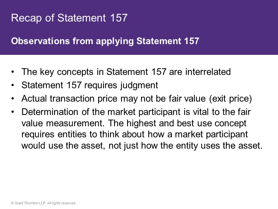 Recap of Statement 157 Observations from applying Statement 157