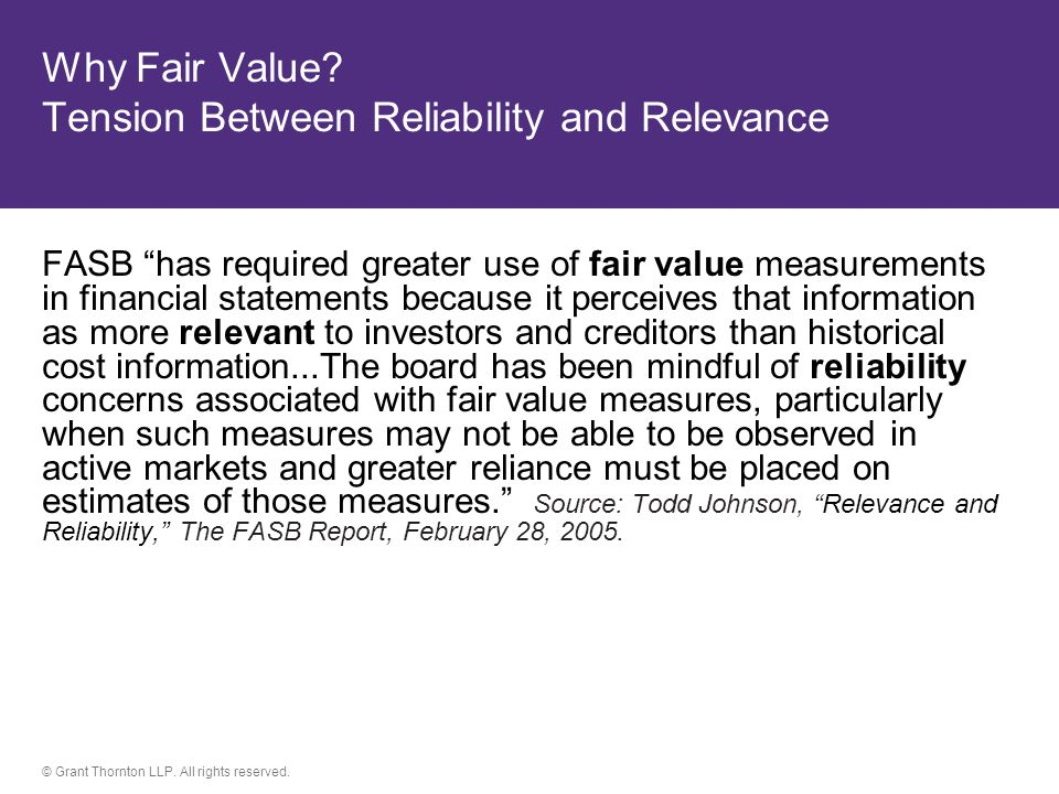 Why Fair Value Tension Between Reliability and Relevance