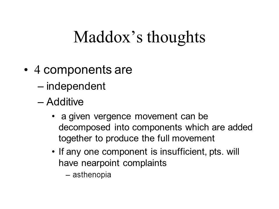 Maddox's thoughts 4 components are independent Additive
