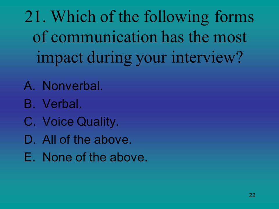 21. Which of the following forms of communication has the most impact during your interview