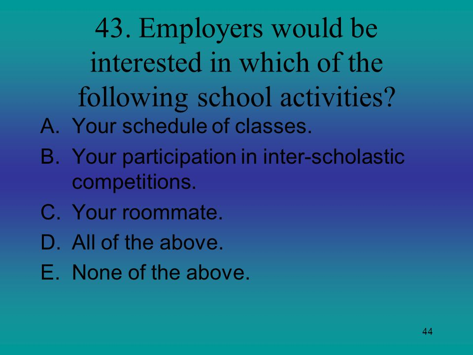 43. Employers would be interested in which of the following school activities