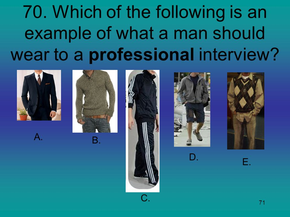 70. Which of the following is an example of what a man should wear to a professional interview