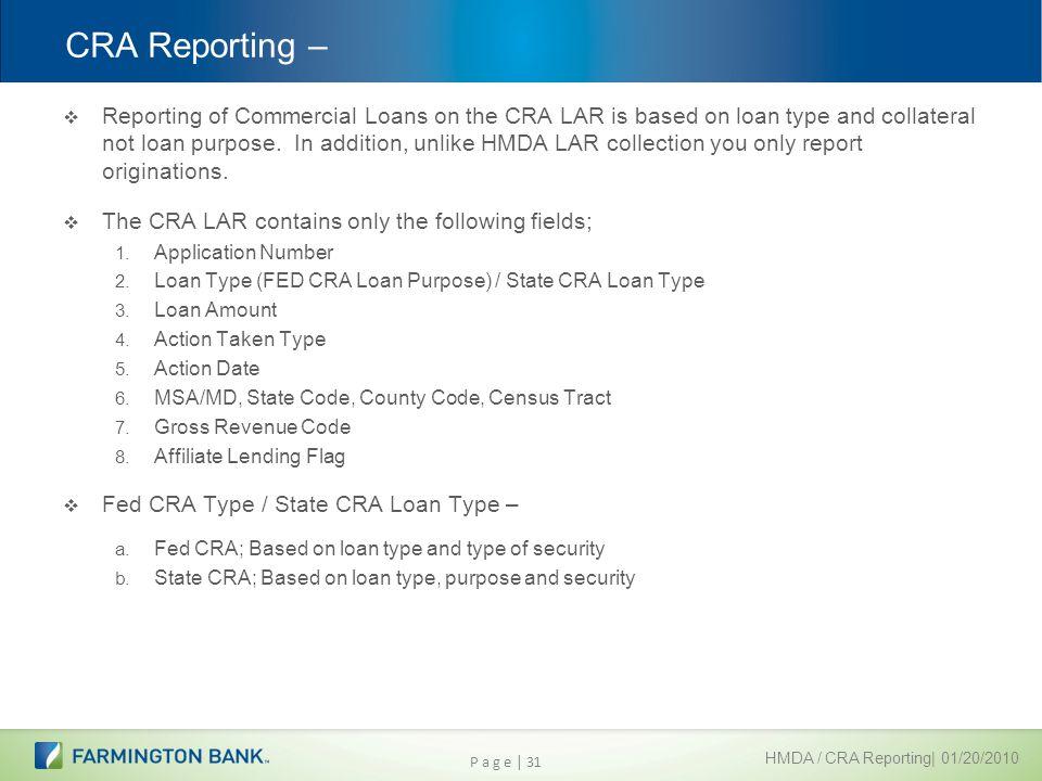 CRA Reporting –