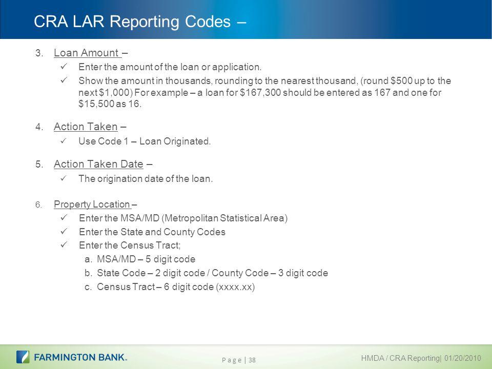 CRA LAR Reporting Codes –