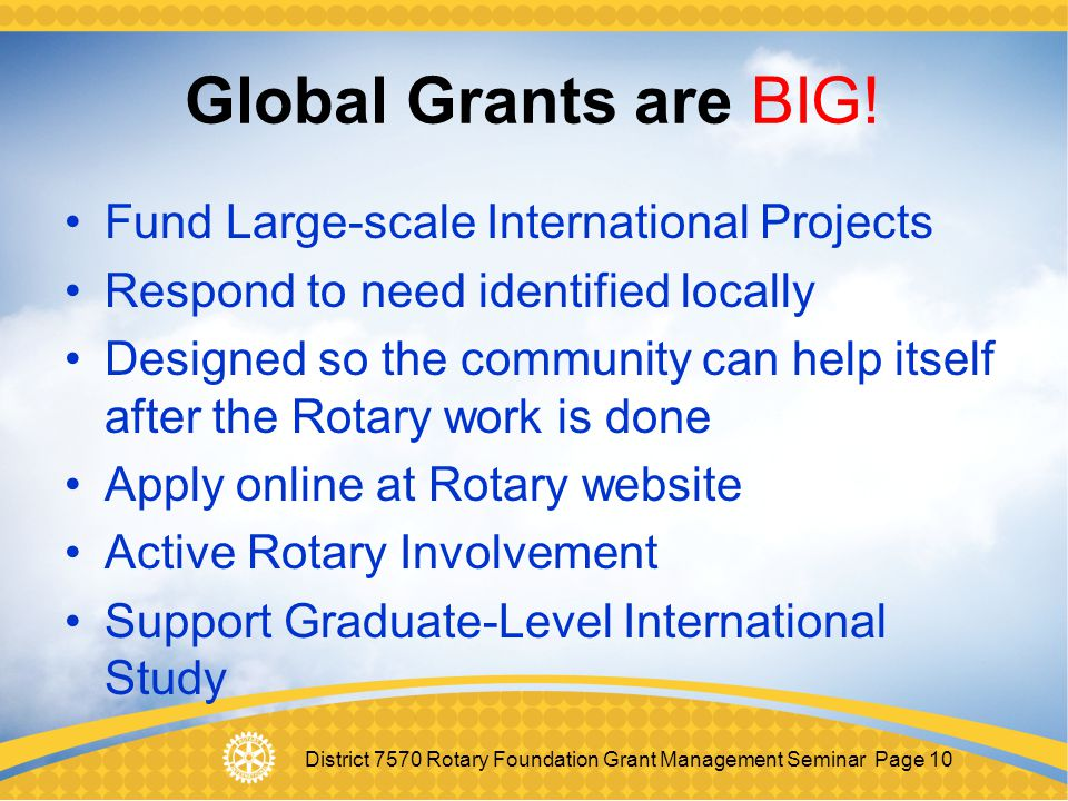Global Grants are BIG! Fund Large-scale International Projects